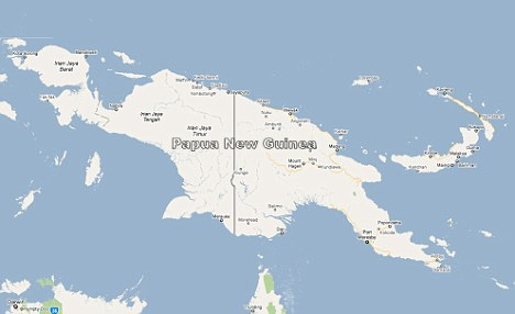 Stranded: The men set off from Papua New Guinea for another island 30 miles away - but ran out of fuel