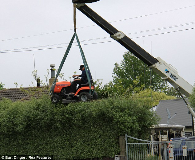 Er... you want to mow the HEDGE? A passer-by was startled to see a dedicated gardener pulling no punches with his pruning