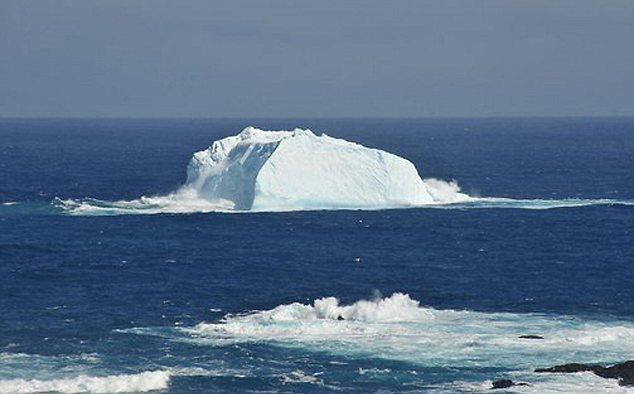 Iceberg running aground at Bauer Bay, near Macquarie Island