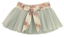 Glittery tutu in pale green, with a floral waistband and bow, made to order by Foxtrot & Tango, £200. web: www.foxtrotandtango.com