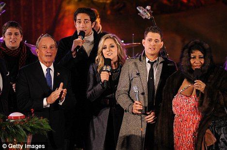 Musician Rob Thomas, New York City Mayor Michael Bloomberg, actor Zach Levi, actress Jane Krakowski, singer Michael Buble and singer Aretha Franklin