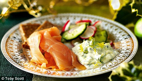 Smoked salmon, radish and cucumber salad with caper and dill cream recipe