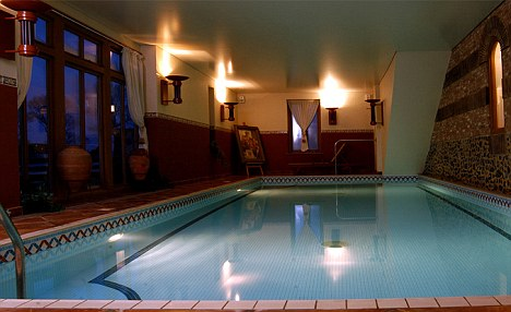 The spa's swimming pool which looks out on the surrounding countryside