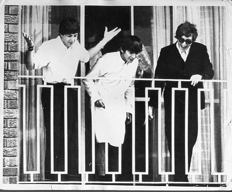 Beatles on hotel balcony