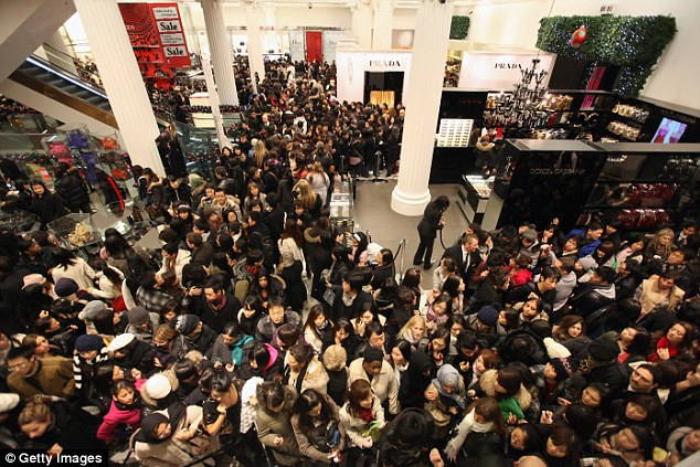 Shoppers rush into Selfridges in central London