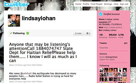 Lindsay Lohan asked fans to help Haiti by posting a phone number on her Twitter page