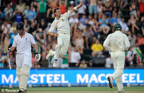 South Africa's Dale Steyn celebrates after dismissing England's Jonathan Trott