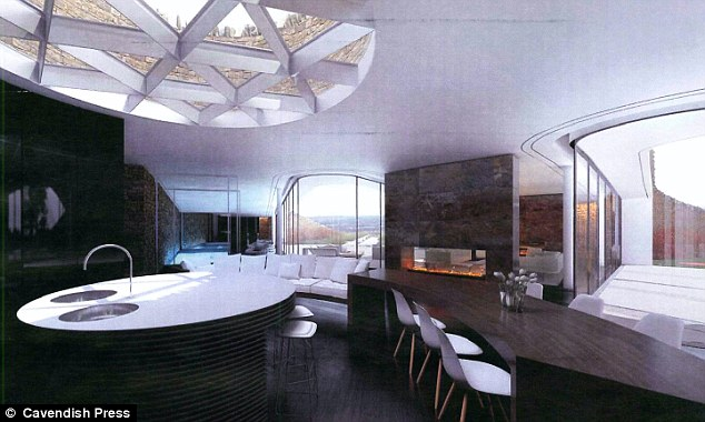 The elegant kitchen in Gary Neville's new eco bunker, with a choice of views