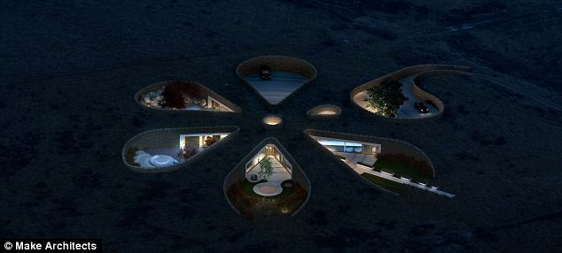 The view at night as the six 'petals' of Neville's house