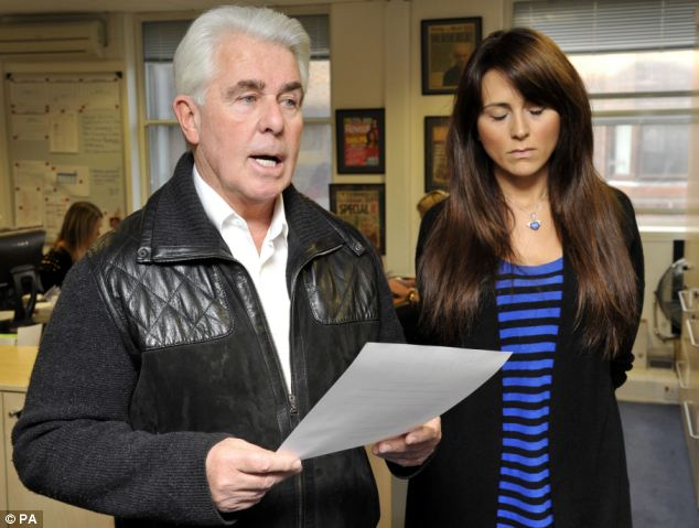 Max Clifford reads a statement on behalf of Vanessa Peroncel at his offices in Mayfair today