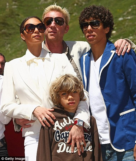 Boris Becker and Sharlely Becker arrive with Boris's sons from his first marriage, Elias (C) and Noah St Moritz June 2009