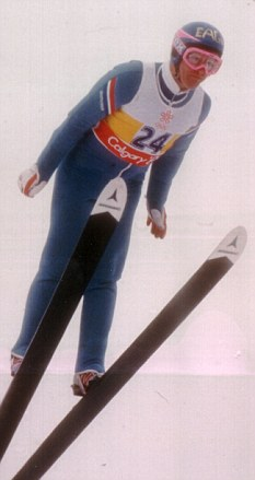Eddie Edwards competing in the 1988 Winter Olympics in Calgary, where he finished last