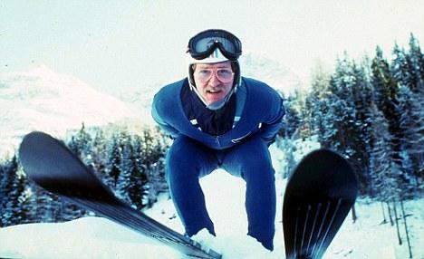 Ready, Eddie, go: Former Olympic ski jumper Eddie 'The Eagle' Edwards pictured in St Moritz in 1986