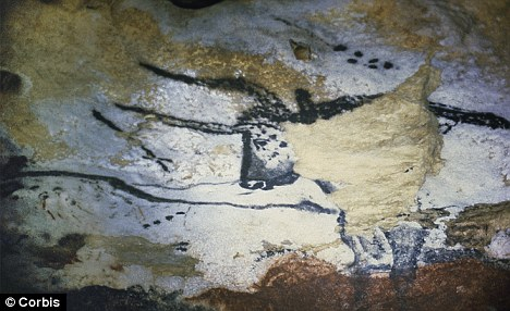 This cave painting of a long-horned bull was found in the Great Hall of Bulls at Lascaux, and dates back to around 15,000 B.C.