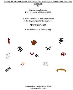 The front cover of Miss von Petzinger's thesis, showing some of the cave signs that kept reappearing during her research