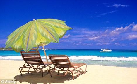 Sun loungers on a Bahamas beach