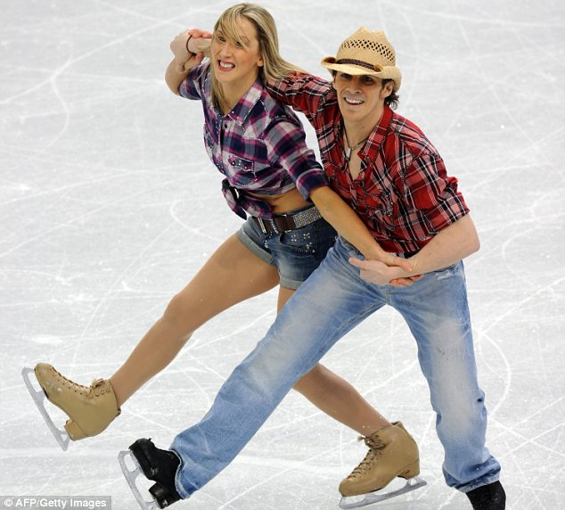 Yee-ha! British figure skating team Sinead and John Kerr went for a country and western-style routine for the Original Dance contest in Vancouver yesterday