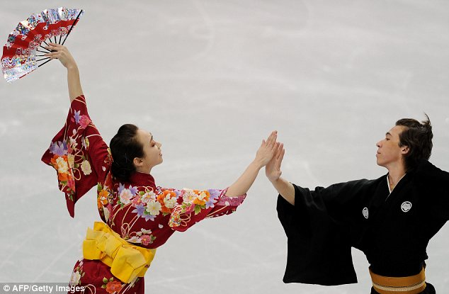 Traditional: Japanese skaters Cathy and Chris Reed performed a routine inspired by their native dances