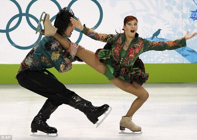 Russia's Jana Khokhlova and Sergei Novitski donned flashy green outfits for their original dance number