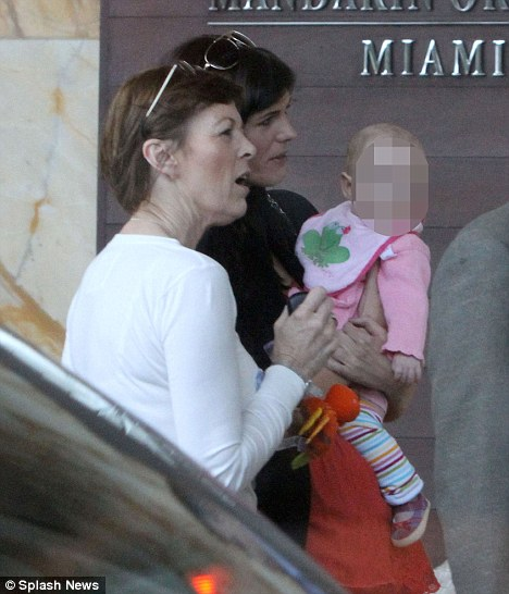 Ms Burke with her mother Lea and daughter Sophia outside their hotel