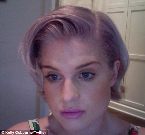 Kelly Osbourne shows off her new lavender blonde hairdo in this picture she posted on popular social networking site Twitter