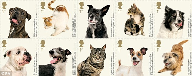 The eye-catching stamps celebrate 150 years of the Battersea Dogs & Cats Home