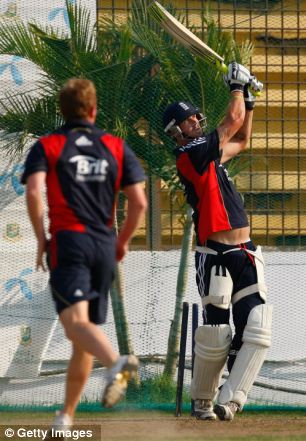Kevin Pietersen in the nets
