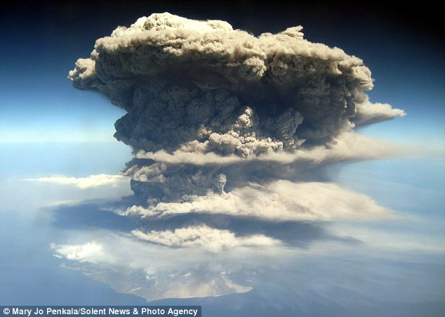 Watch out: The eruption sent ash bellowing up to 40,000ft into the sky