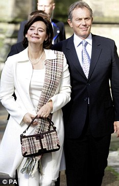 Tony Blair attends All Saints Church, Hove, with wife Cherie in 2005