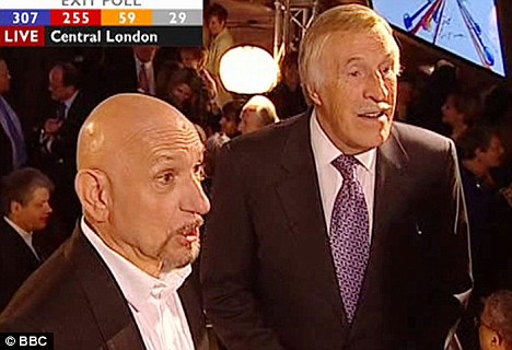 Ben Kingsley and Bruce Forsyth were asked about their opinions on the election as they enjoyed an election party on a boat on the South Bank