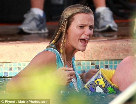Soaked: Model Brooklyn Decker, who stars in the film, angrily shouts at Nick Swarsdon during a scene from the film
