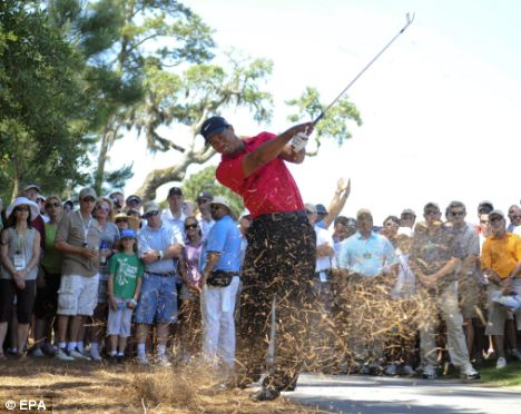 Brass neck: Despite saying he was feeling '100 per cent' two days earlier, Woods withdrew in the middle of his fourth round