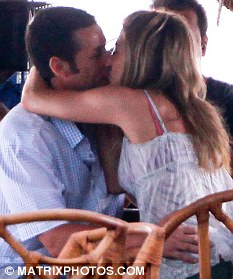 It's complicated: Sandler filming an on-screen kiss with Jennifer Aniston last week