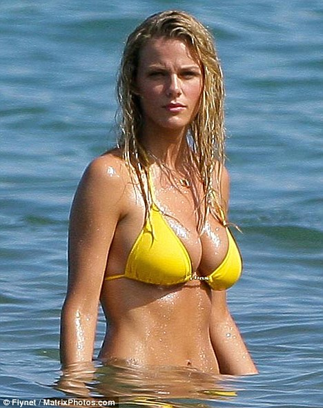 Younger model: Is Brooklyn Decker's presence on the set of Just Go With It in Maui, Hawaii intimidating Jennifer Aniston?