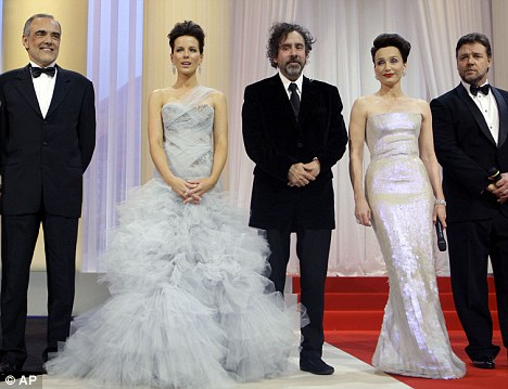 Starry line-up: Thomas joined (L-R) jurors Alberto Barbera and Kate Beckinsale, head juror Tim Burton and Robin Hood star Russell Crowe