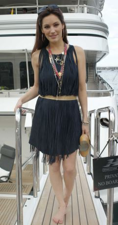 Showing her sea legs: Kelly on the yacht in Monaco yesterday