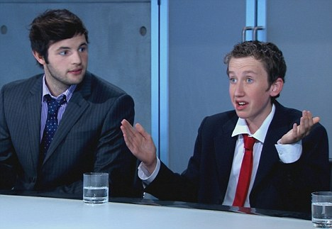 'Let down': Tim Ankers and Rhys Rosser in the boardroom before Rhys, right, was fired from the reality TV show