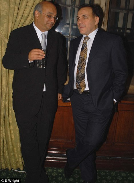 Labour MP Keith Vaz and disgraced lawyer Shahrokh Mireskandari at a House of Commons function in November 2007