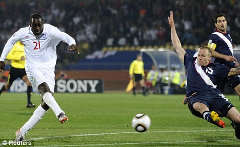 Drought: Heskey was praised for his link up play but criticised for one guilt-edged miss against the States
