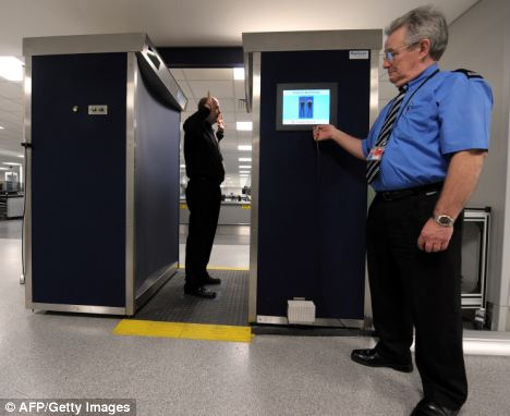 No hiding place: An airport security officer checks a full-body scan