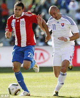 Paraguay's Antolin Alcaraz (left)