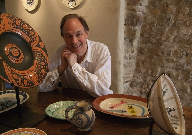 Steve Turner with Picasso ceramics in Antibes' Musee Picasso