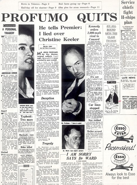 Scandal: The Daily Mail carried the story of the Profumo affair on its front page