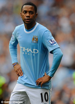 Forlorn figure: Robinho's commitment was often questioned at City