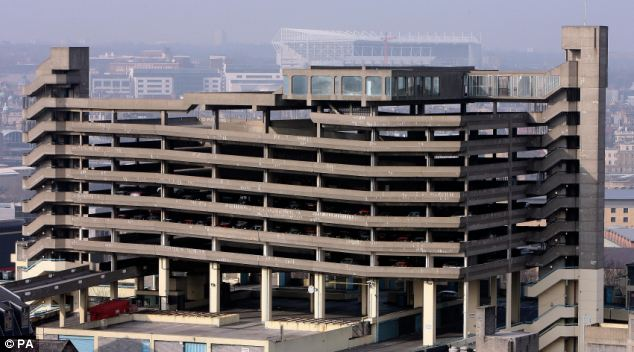 The Trinity Square car park showing the enclosed glass area at the top of the structure used in the filming