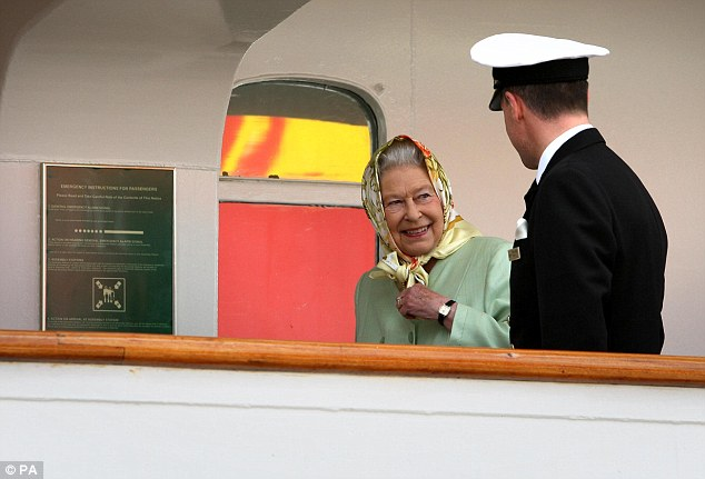 Like the old days: The Queen greets the vessel's captain as she boards 11 days ago