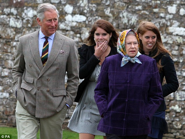 Queen Elizabeth II (right) accompanied by the Prince of Wales (left), Princess Eugenie, (back left), after their private family holiday