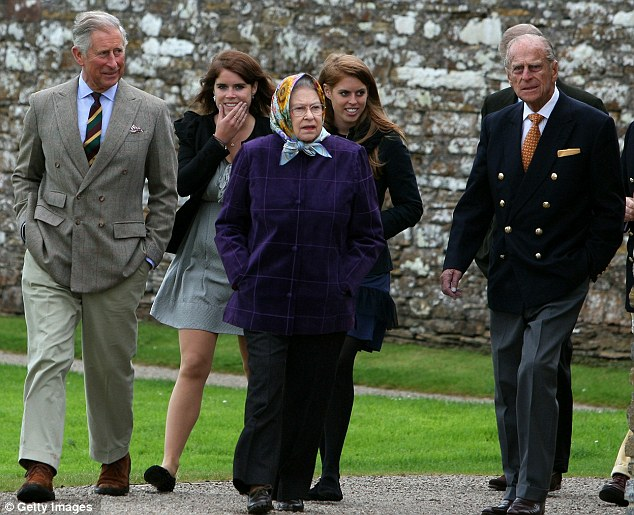Glad to be back: The Queen flanked by Princes Charles and Philip and Princesses Eugenie and Beatrice