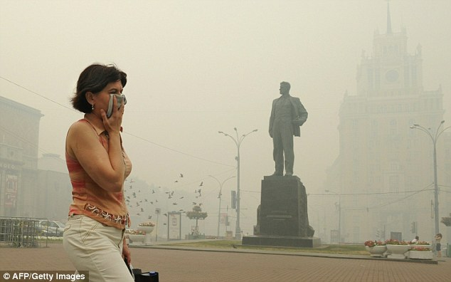 Toxic: Levels of carbon monoxide are four times the average in Moscow
