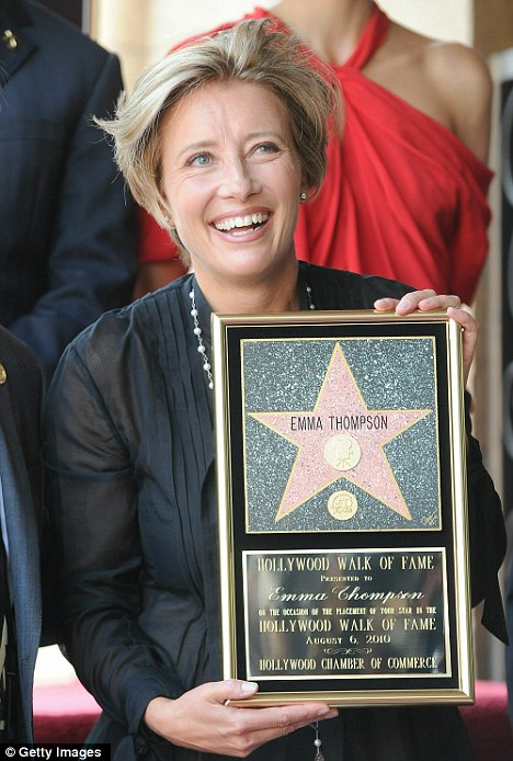 Actress Emma Thompson joins actors Hugh Laurie and Maggie Gyllenhaal at the the Hollywood Walk Of Fame Star Ceremony for Emma Thompson on August 6, 2010 in Hollywood, California.